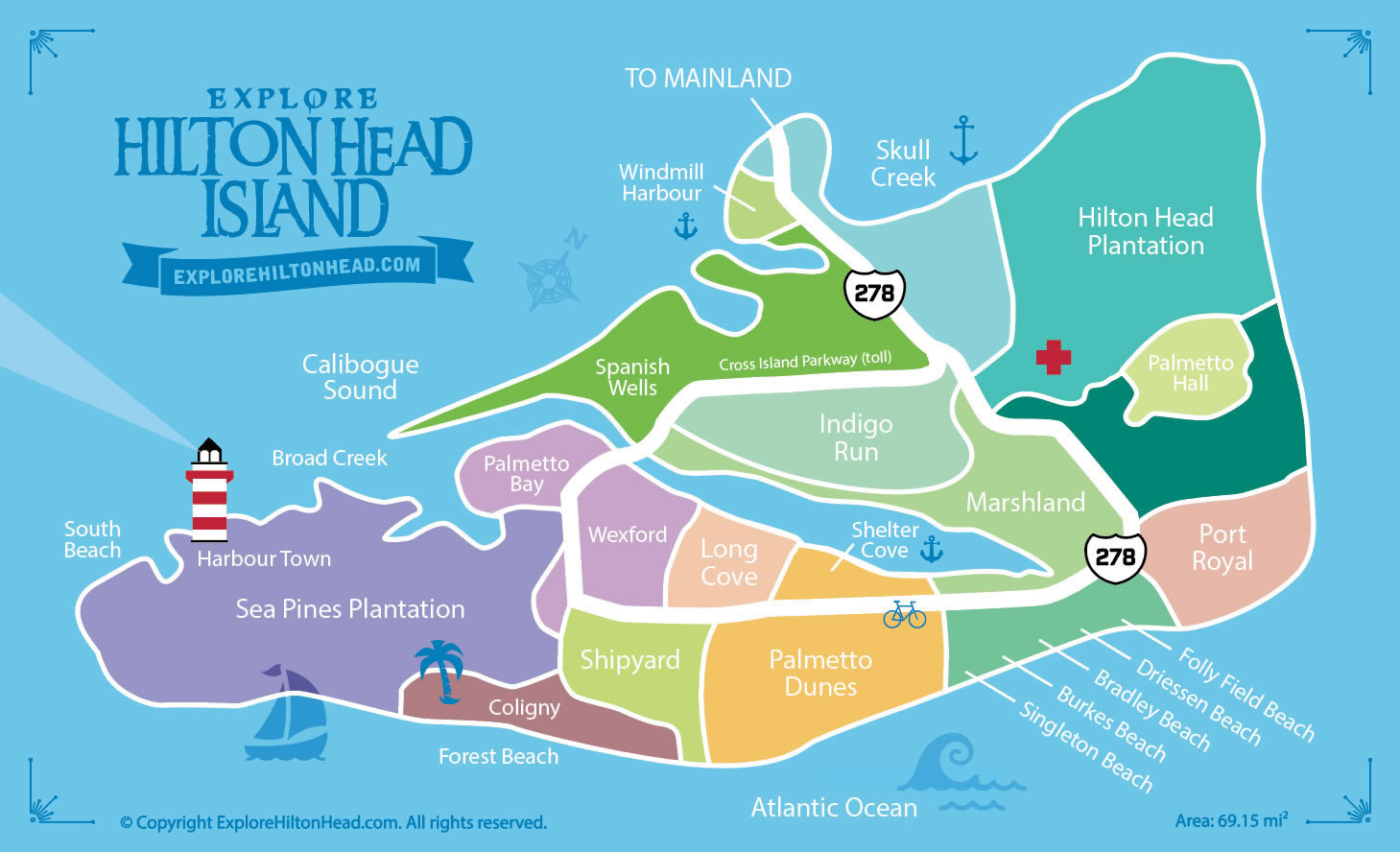 map of hilton head island sc. hilton head island maps  guide to local attractions and hilton